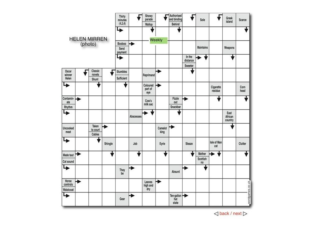 Crosswords Puzzles Wordgames Cartoons : Arrow Puzzle